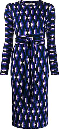 Diane Von Fürstenberg Vestido midi com estampa geométrica - Azul