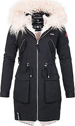 840bc08805862a Marikoo Damen Winter Jacke Parka Winterjacke warm gefüttert Teddyfell B641  [B641-Justine-Schwarz