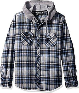 Zoo York Mens Long Sleeve Hooded Woven Shirt, Fuse Quiet Shade Heather, Medium