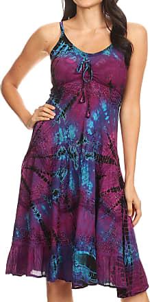 Sakkas 181304 - Zoe Womens Summer Bohemian Spaghetti Strap Short Dress Tie Dye Embroidered - Purple - 1X/2X