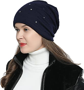 DonDon Womens Slouch Beanie with Stars and Black Strass Rhinestones with Soft Inner Lining - Dark Blue