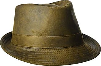 980244b2d300ea Henschel Mens Faux Ultra-Suede Leather Fedora with Satin Lining, Distressed  Rust, X