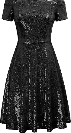 Grace Karin Women Vintage 50s Party A-line Dress Black Summer Short Sleeve Sequins Off Shoulder Knee Length Drama Show Dress XXL
