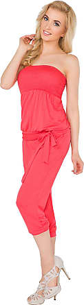 FUTURO FASHION Womens 3/4 Length Jumpsuit with Belt Bandeau Playsuit Catsuit Sizes 8-14 1083 Coral