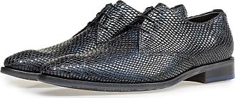 Floris Van Bommel Blauer Lackleder-Schnürschuh mit Print, Business Schuhe, Handgefertigt