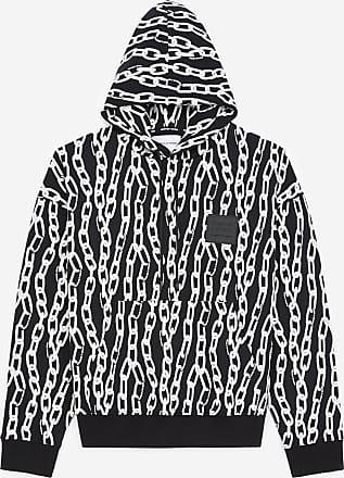 The Kooples Black sweatshirt with hood and chain motif - MEN