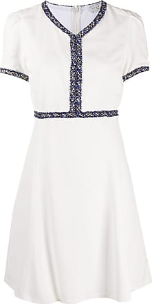 Sandro fringed trim skater dress - White