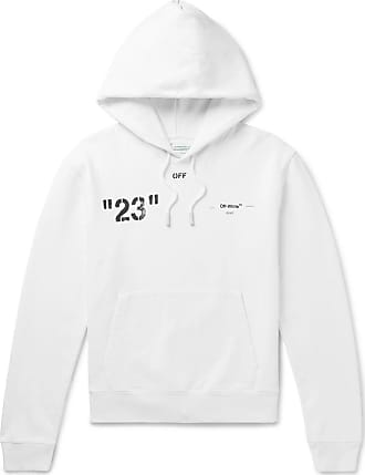 Off-white Logo-print Loopback Cotton-jersey Hoodie - White