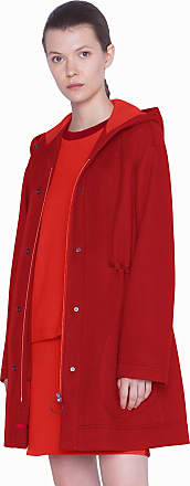 Akris Red Parka in Bonded Jersey with Waist Drawstring