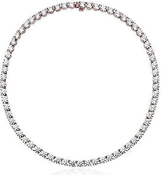 Amazon Collection Rose-Gold Plated Sterling Silver Tennis Necklace set with Round Cut Swarovski Zirconia (6 mm), 17