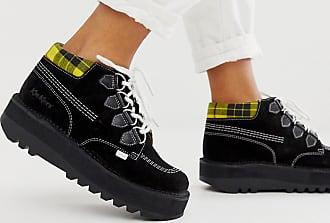 Kickers Kick Hi Creepy black suede and leather hi top flat boots