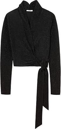 2ee2a2898f285 Ganni Metallic Stretch-knit Wrap Top - Black