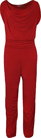WearAll Plus Size Womens Cowl Neck Pocket Belted Ladies Sleevelsss Jumpsuit - Red - 22-24