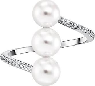 Misaki Bague large Shore rhodiée avec perles blanches - taille 50