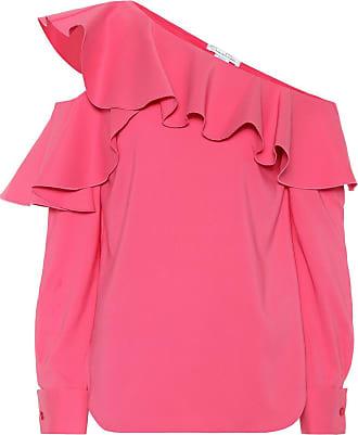 Oscar De La Renta One-shoulder silk-blend blouse
