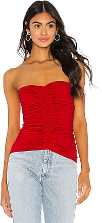 Susana Monaco Strapless Ruffle Trim Ruched Top in Red