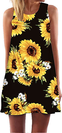 Ocean Plus Womens Summer Casual Top Flamingo A-Line Sleeveless Dresses Leaves Cover-up Western Without Sleeves Beach Dress Party Dress (XXL (UK 16-18), Black Sun