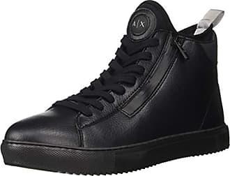 A|X Armani Exchange Mens High Top Lace Up Sneaker, Black, 8 M US