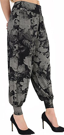 WearAll Ladies Plus Size Harem Trousers Womens Full Leggings Stretch Pants (16 to 18, Tiedye Floral)