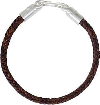 Novica Braided leather bracelet, Elephant Promise in Brown