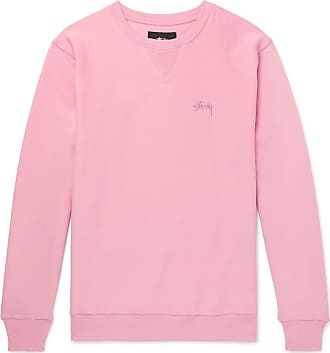 Stüssy Logo-embroidered Loopback Cotton-jersey Sweatshirt - Pink