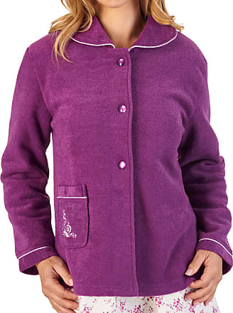 Slenderella Womens Button Up Bed Jacket Soft Boucle Fleece Embroidered Housecoat Large (Plum)