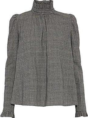GOEN.J Goen.j Woman Ruffle-trimmed Checked Cotton Blouse Dark Gray Size M