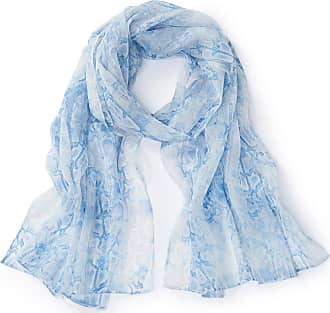 Uta Raasch Sjaal met slangenprint van 100% zijde Van Uta Raasch blauw