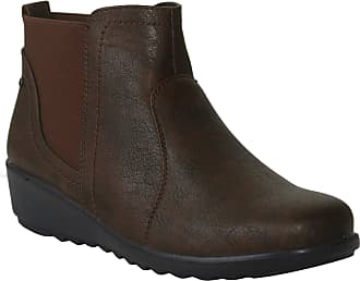 Cushion-Walk Womens Ladies Slip On Twin Gusset Lightweight Casual Comfort Ankle Boots UK Sizes 4-8 (7 UK, Tan)