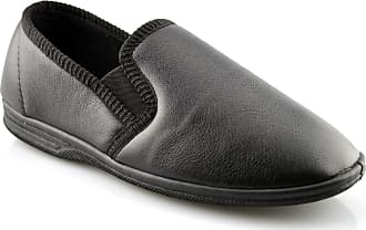 Zedzzz Mens New Boxed Slip On Faux Leather Twin Gusset Slippers Shoes Size 6-14 - Black - UK 10