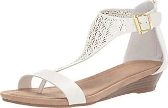 Kenneth Cole Reaction Womens Great City 3 T-Strap Low Wedge Sandal, White, 6.5 M US