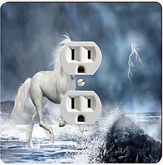 Rikki Knight Fantasy White Unicorn Single Outlet Plate