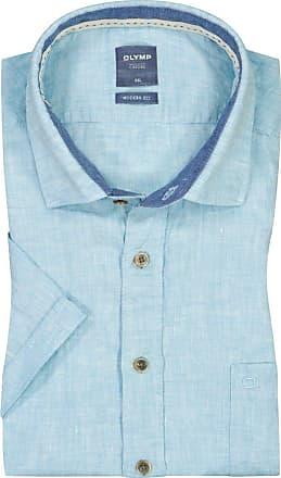Olymp Übergröße : Olymp, Casual modern fit Leinenhemd, kurzarm in Tuerkis für Herren