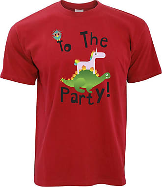 Tim And Ted Novelty Birthday T Shirt to The Party Stegosaurus - (Red/Medium)