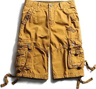 OCHENTA Mens Cotton Loose Fit Multi Pocket Cargo Shorts 3233 Soil Yellow 29