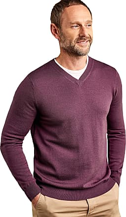 WoolOvers Mens New Merino V Neck Knitted Sweater Dark Boysenberry, XXL