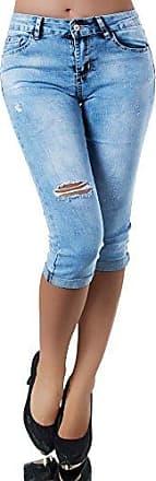 N965 Damen 3//4 Capri Jeans Hose Shorts Damenjeans Caprijeans Bermuda Sommerhose