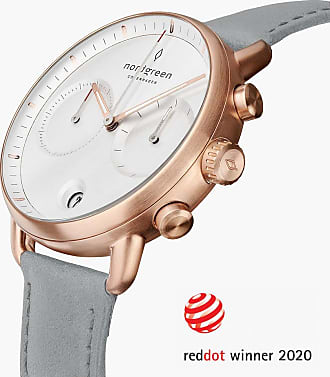 Nordgreen Pioneer | White Dial - Dove Grey Vegan Leather - 42mm / Rose Gold