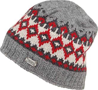KuSan Hats Fine Gauge Fair Isle Beanie Hat - Grey-Red 1-Size