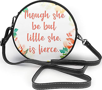 Turfed Though She Be But Little She is Fierce Print Round Crossbody Bags Women Shoulder Bag Adjustable PU Leather Chain Strap and Top Zipper Small Handbag Ha