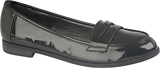 US Brass Ladies Womens Hi Shine Patent Slip On Apron Saddle Casual Penny Loafer Shoes Size 3-8 - Black - UK 6
