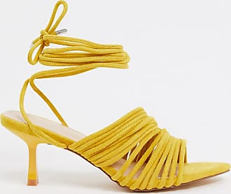 Z_Code_Z Exclusive Lada vegan strappy sandals with mid heel in yellow