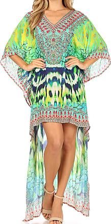 Sakkas P7 - HiLowKaftan Laisson Hi Low Caftan Dress Top Cover/Up Fit with Printed Pattern - SCT52-Turq - OS