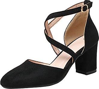 14cd35b5e74fa7 Aiyoumei Damen Geschlossen Sandalen Remchen Bockabsatz Pumps  Knöchelriemchen Elegant Schuhe Bequem