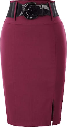 Belle Poque 1950s Classic Vintage Style Midi Length Skater Skirts Wine(762-9) Small