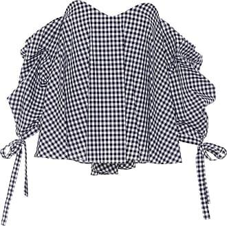 Caroline Constas Gabriella checked cotton top