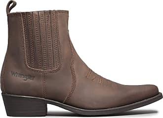 Wrangler Texas II MID Mens Leather Ankle Cowboy Boots Dark Brown UK 12