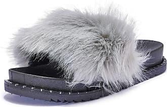 Truffle Womens Slippers Sliders Slip On Comfy Slides Flip Flops Flatform - Grey - UK 4