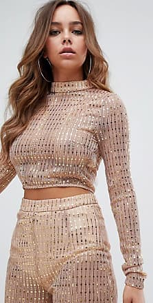 Missguided high neck sequin crop co-ord in gold