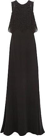 Badgley Mischka Badgley Mischka Woman Jennifer Embroidered Mesh And Crepe Gown Black Size 6